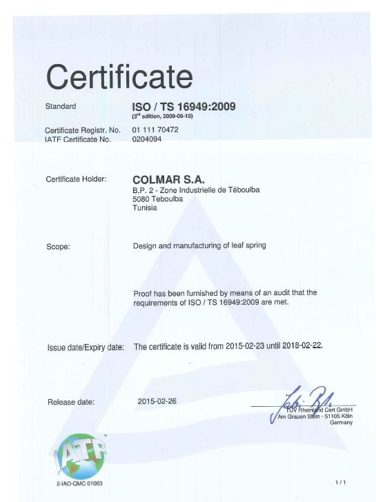 certificate iso / TS 16949:2009